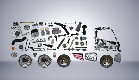 Foto de Images truck assembled from new spare parts. Cargo shop - Imagen libre de derechos