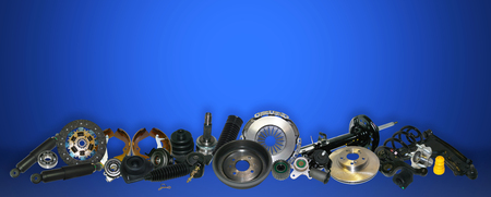 Photo pour Spare parts car on the blue background set. Many auto parts are located on the edge of the image. OEM parts, auto parts for customer. - image libre de droit