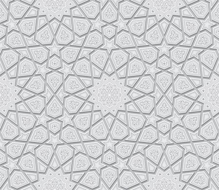 Illustration for Islamic Star Ornament Light Grey Background, Vector Illustration - Royalty Free Image