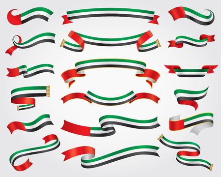 Illustration pour UAE Flag Ribbon Set, design element, vector illustration - image libre de droit