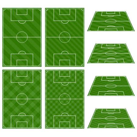 Illustration pour Set of Football Fields with Diagonal Patterns - image libre de droit