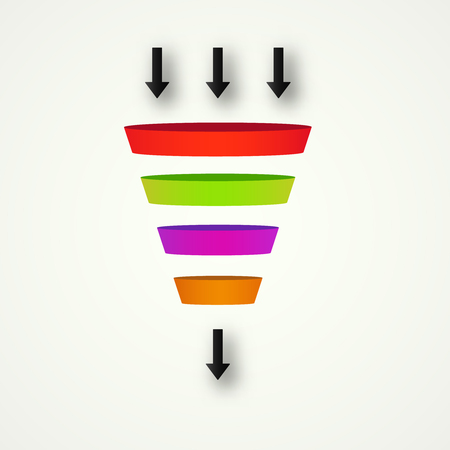 Illustration pour Marketing Funnel for conversion and sales  analysis data rate funnel - image libre de droit