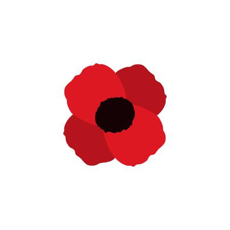Ilustración de red poppy vector flower memorial symbol world war icon - Imagen libre de derechos