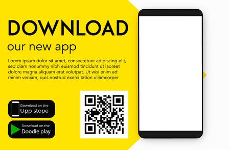 Illustration pour Download our new mobile app ( application ) vector blank design - image libre de droit