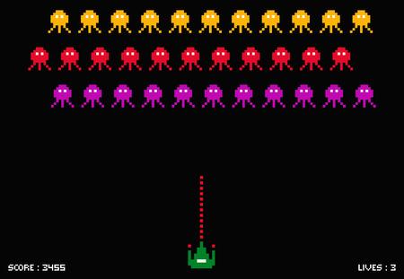 Illustration pour Cosmic invaders game. Pixel space invader set retro style video game - image libre de droit