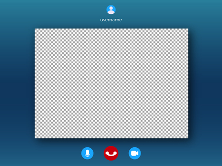 Illustration pour Video call screen template . Online video speech with frame for photo - image libre de droit