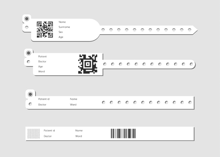 Illustration pour hospital wristband bracelet set . Medical patient id wristlet - image libre de droit
