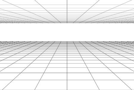 Illustration pour perspective grid floor background . 3d geometric backdrop - image libre de droit
