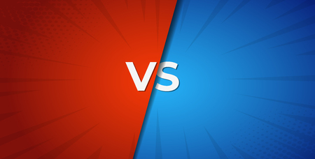Ilustración de Vs versus red and blue battle background .  Boxing competition . - Imagen libre de derechos