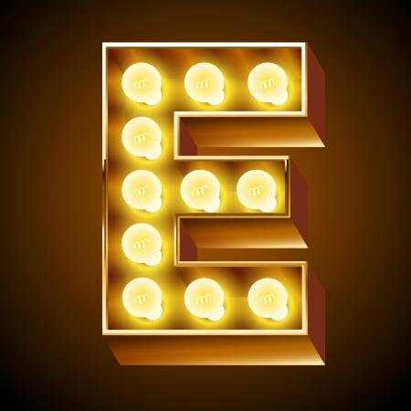 Illustrazione per Old lamp alphabet for light board  Letter E - Immagini Royalty Free