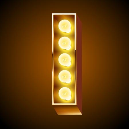 Illustrazione per Old lamp alphabet for light board  Letter I - Immagini Royalty Free
