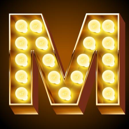 Illustrazione per Old lamp alphabet for light board  Letter M - Immagini Royalty Free