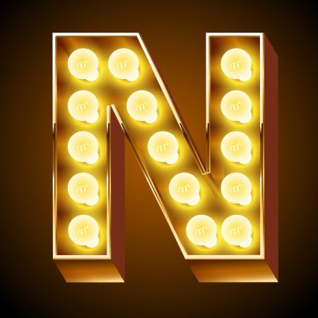Illustrazione per Old lamp alphabet for light board  Letter N - Immagini Royalty Free
