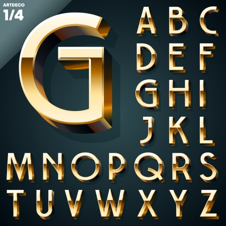 Ilustración de Vector illustration of golden 3D alphabet  Artdeco syle  Set - Imagen libre de derechos