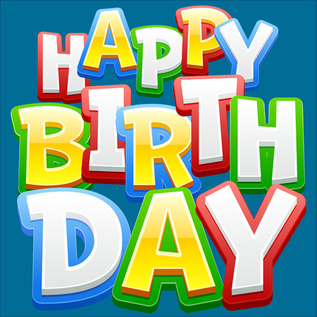 Illustrazione per Happy birthday vector card with sticker colorful font on blue background - Immagini Royalty Free