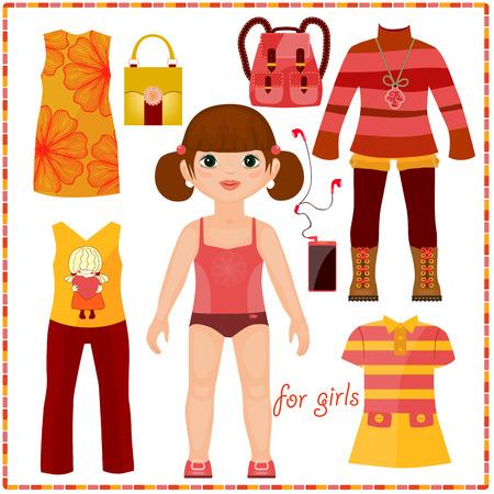 Ilustración de Paper doll with a set of fashion clothes. Cute girl. Template for cutting. - Imagen libre de derechos