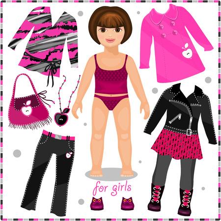 Illustration pour Paper doll with a set of fashion clothes.  Template for cutting. - image libre de droit