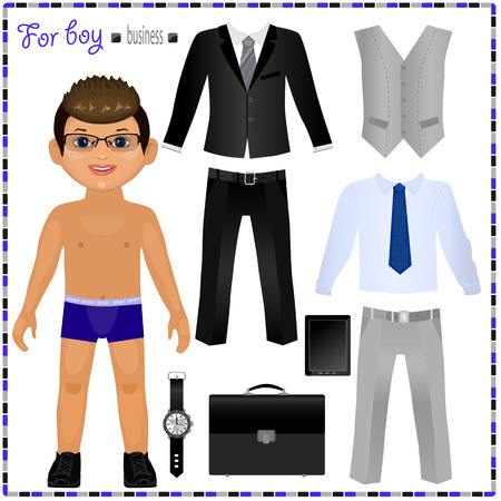 Illustration pour Paper doll with a set of clothes. Business style. Cute trendy boy. Template for cutting. - image libre de droit