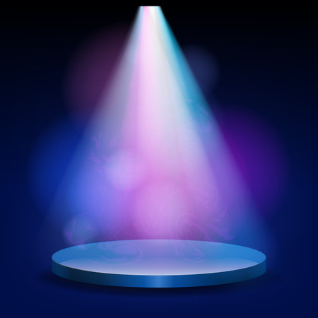 Illustration pour Empty stage lit with lights on blue background. On the podium shines a bright spotlight - image libre de droit