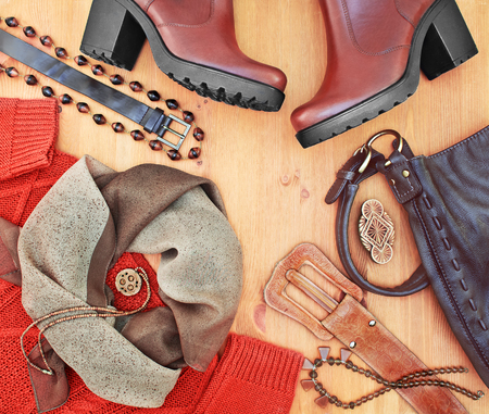 Foto de Fashionable women's clothing and accessories. Red-brown tone - Imagen libre de derechos