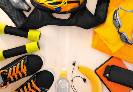 Sports equipment for fitness. athletic frame