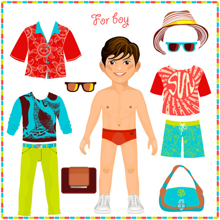 Illustration pour Paper doll with a set of fashionable clothing. Cute trendy boy. Template for cutting. Summer Collection - image libre de droit