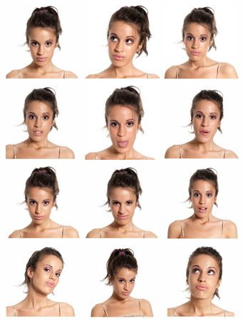 young woman face expressions composite isolated on white background.
