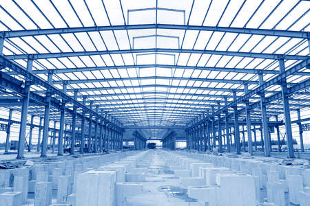 Foto per Steel structure workshop is under construction - Immagine Royalty Free