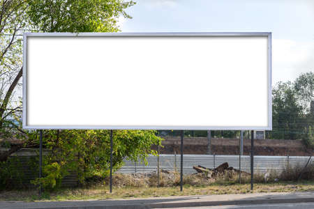 Foto de Horizontal roadside billboard (blank for a designer to place on a text. image, message..) - Imagen libre de derechos