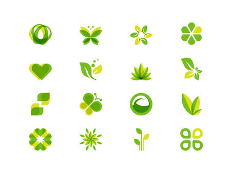 Illustration for Ecology leaves and symbols - Royalty Free Image