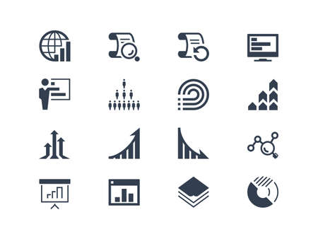 Illustration pour Statistics and report icons. Easy to edit and modify - image libre de droit