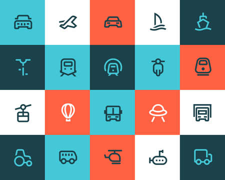 Foto per Transportation icons set. Flat style - Immagine Royalty Free