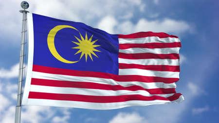 Foto de Malaysia Flag in a Blue Sky. - Imagen libre de derechos