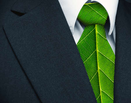 Photo pour Business suit and green leaves as tie representing a natural job in defense of a green environment   - image libre de droit