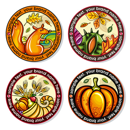 Illustration pour A Vector set of Seasonal Autumn round drink coasters with the design of leaves, nuts, squirrel, cornucopia, pumpkin for cold, hot beverages.  for bar, pub, coffee shop use. - image libre de droit