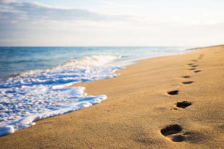 Foto de close up of footprints on the beach with golden sand - Imagen libre de derechos