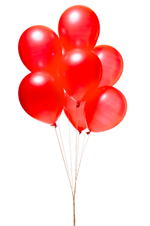 Photo pour Red balloons isolated on white - image libre de droit