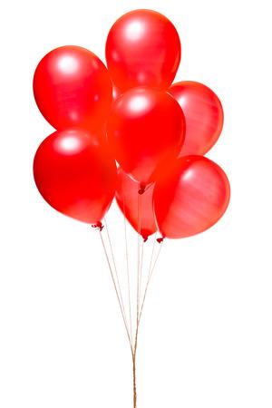 Foto de Red balloons isolated on white - Imagen libre de derechos
