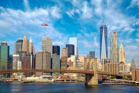 Photo for Lower Manhattan skyline and Brooklyn Bridge, New York City - Royalty Free Image