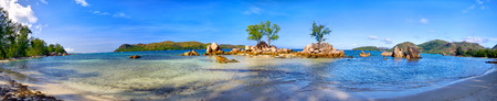 Photo for Tropical beach panorama in Praslin Island, Seychelles - Royalty Free Image