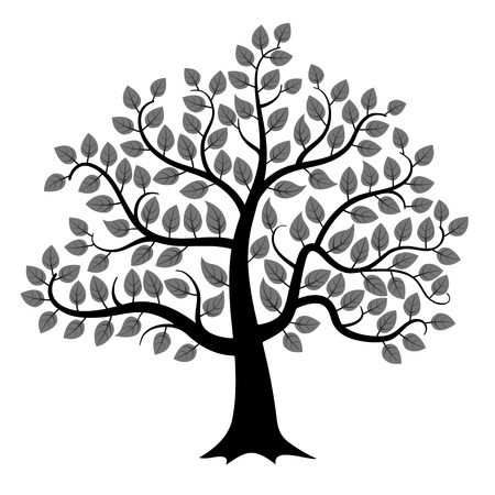 Illustration pour Black tree silhouette isolated on white background, vector illustration - image libre de droit
