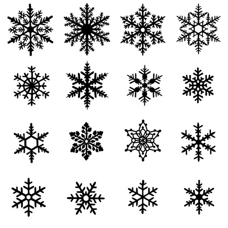 Illustration for Set of black snowflakes isolated on white background - Royalty Free Image
