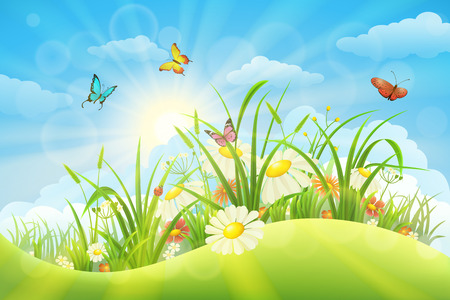 Illustration for Spring summer meadow background with grass, flowers, sun and butterflies - Royalty Free Image