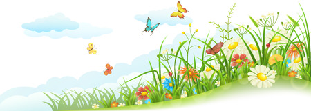 Illustration pour Green spring summer meadow with grass, flowers, butterfly and clouds - image libre de droit