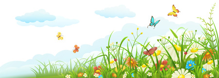 Illustration pour Summer meadow banner with green grass, flowers, butterflies and clouds - image libre de droit