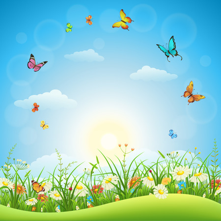 Illustration pour Spring or summer landscape with green grass, flowers and butterflies - image libre de droit