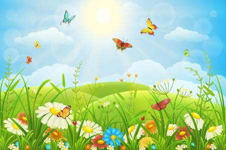 Illustration pour Summer or spring lush meadow with colorful flowers and butterflies - image libre de droit