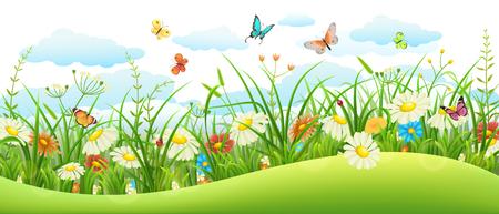 Illustration pour Summer landscape banner with meadow flowers, grass and butterflies - image libre de droit
