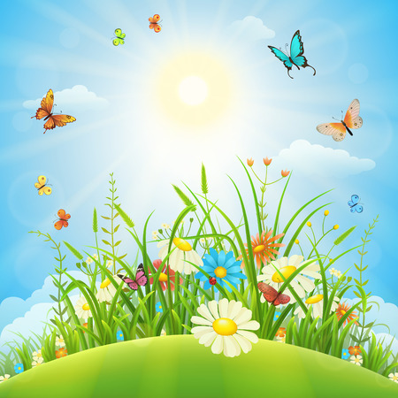 Illustration pour Summer or spring meadow landscape with flowers, grass and butterflies - image libre de droit