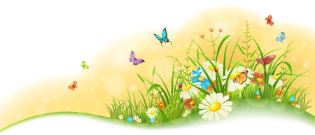 Illustration pour Summer sunny meadow banner with grass, colorful flowers and butterflies - image libre de droit
